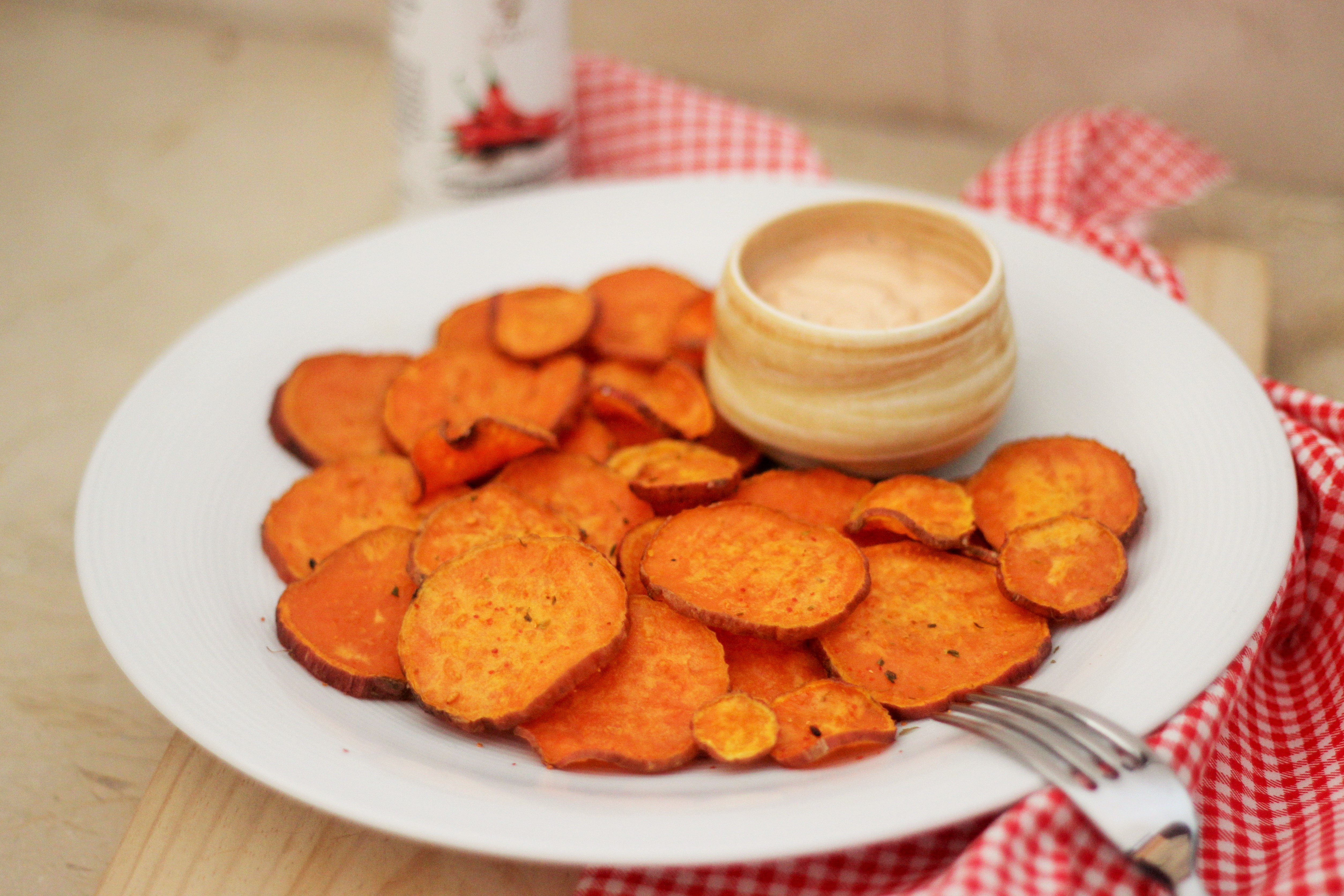 Sweet Potato Chips with Togarashi and a Tangy Tangy Mayo Dipping Sauce