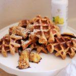 Lemon Waffles with Roasted Bananas
