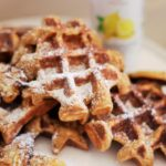 Lemon and Oat Waffles with Roasted Bananas