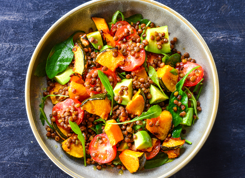 Lentil Salad with Roasted Pumpkin and Pomegranate Seeds